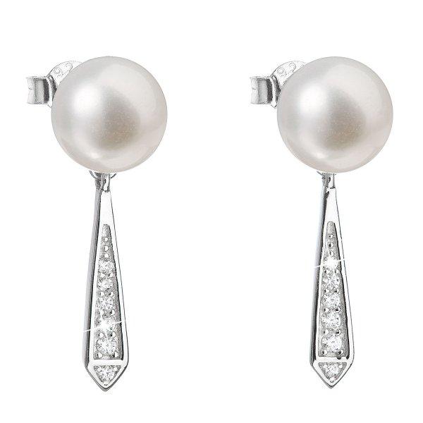 Stříbrné náušnice visací s bílou říční perlou 21036.1 21036.1