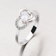 Prsten z bílého zlata se zirkony 11-146