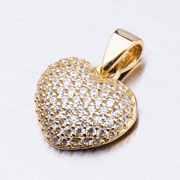 Zlaté srdce se zirkony 13-223