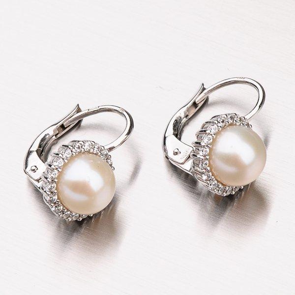 Náušnice s perlou a zirkony 12-378