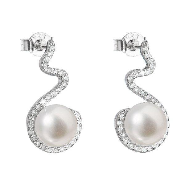 Stříbrné náušnice visací s bílou říční perlou 21037.1 21037.1