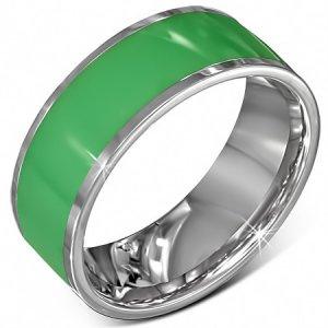 Prsten z chirurgické oceli v zelené barvě GVRR297