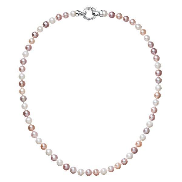 Perlový náhrdelník z pravých říčních perel mix barev 22004.3 22004.1