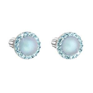 Stříbrné náušnice pecka s krystaly Swarovski a světlemodrou matnou perlou kulaté 31314.3 31314.3