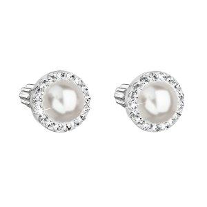 Stříbrné náušnice pecka s krystaly Swarovski a bílou perlou kulaté 31314.1 31314.1