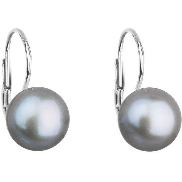 Stříbrné náušnice visací s šedou říční perlou 21009.3 21009.3