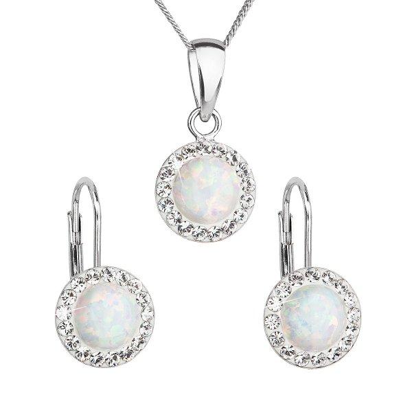 Sada šperků se syntetickým opálem a krystaly Swarovski náušnice a přívěšek bílé kulaté 39160.1 39160.1