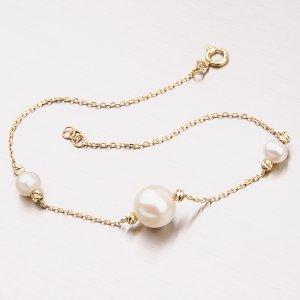Zlatý perlový náramek 44-1836