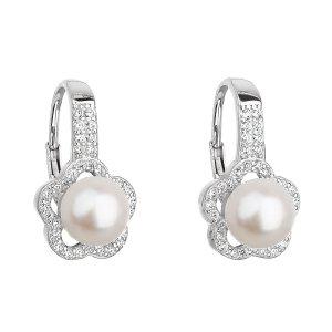 Stříbrné náušnice visací s bílou říční perlou 21046.1 21046.1