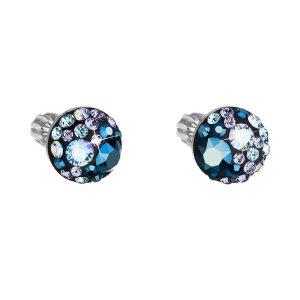 Stříbrné náušnice pecka s krystaly Swarovski modré kulaté 31336.3 blue style 31336.3