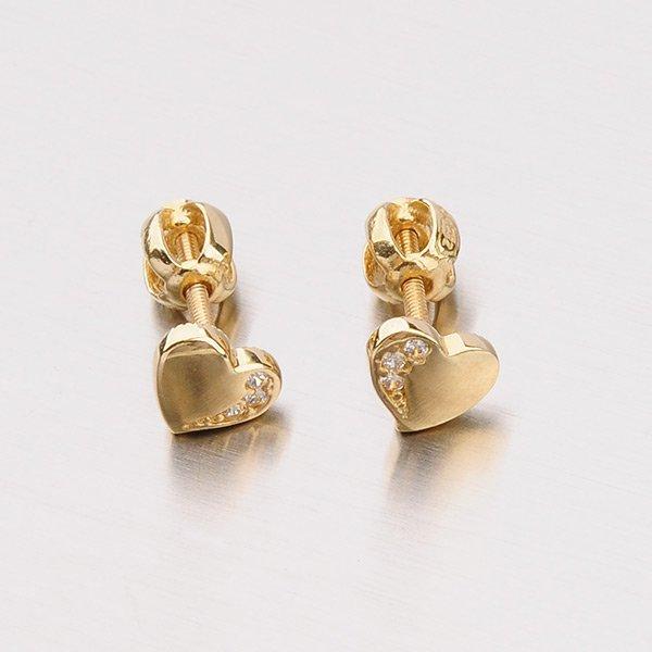 Pecky ze zlata ve tvaru srdce 12-310