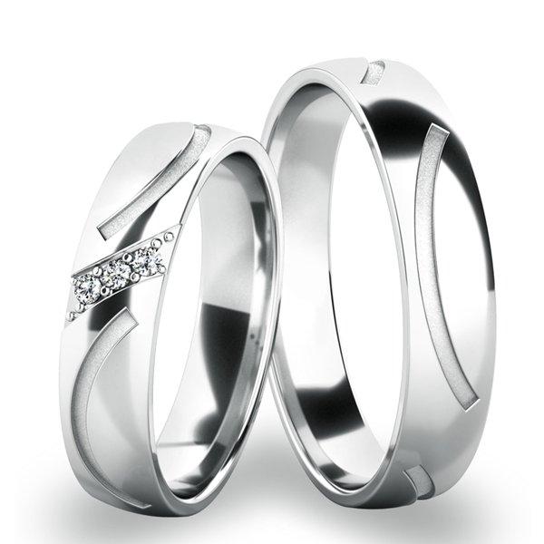 Snubní prsteny z bílého zlata SP-61063B