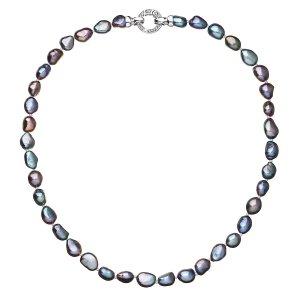 Perlový náhrdelník z pravých říčních perel modrý 22027.3 22027.3