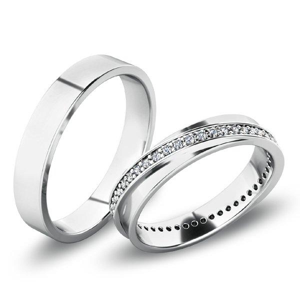 Snubní prsteny - bílé zlato SP-61070B