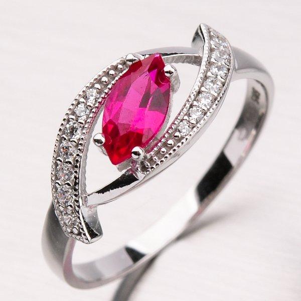 Prsten s rubínem z bílého zlata 11-190