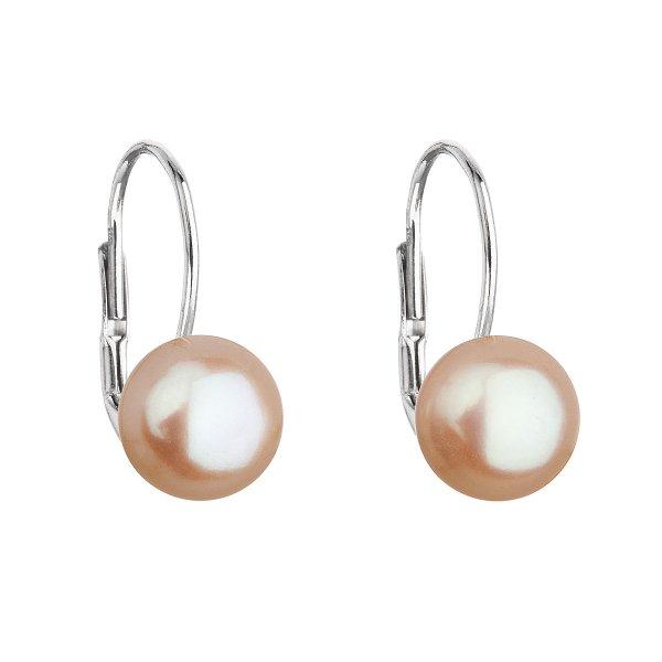 Stříbrné náušnice visací s oranžovou říční perlou 21044.3 21044.3