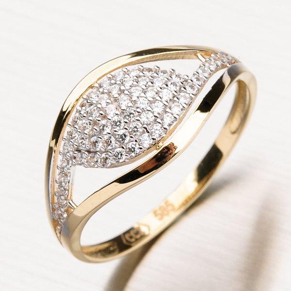 Zlatý prsten se zirkony 11-178