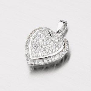 Stříbrné srdce osazené zirkony PZX02130008