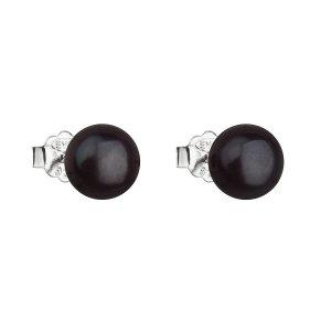Stříbrné náušnice pecky s černou říční perlou 21042.3 21042.3
