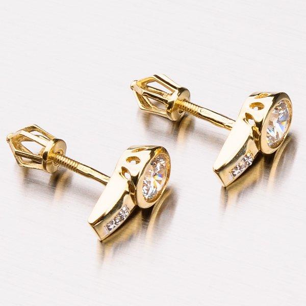 Zlaté pecky se zirkony 42-31759