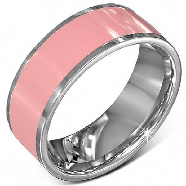 Prsten z chirurgické oceli v růžové barvě GVRR289