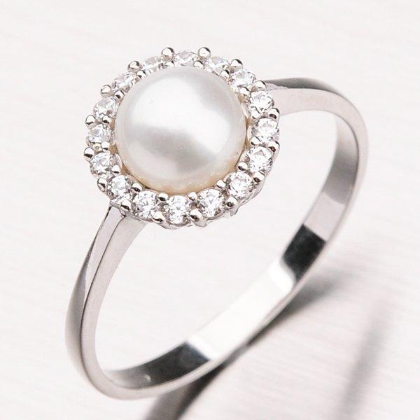 Prsten se zirkony a perlou 11-184
