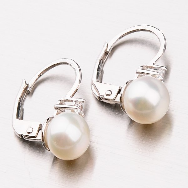 Náušnice s perlou a zirkony 42-31670