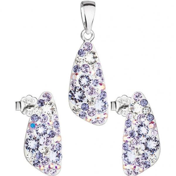 Sada šperků s krystaly Swarovski náušnice a přívěsek fialový 39167.3 violet 39167.3