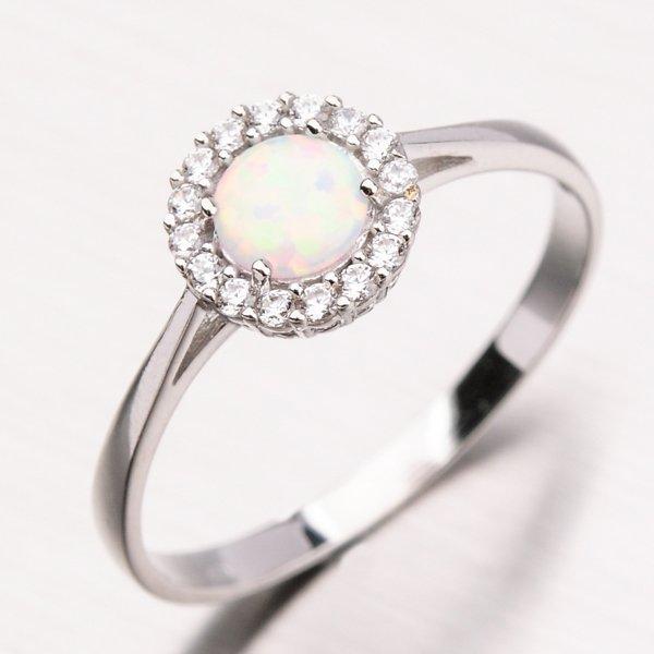 Prsten s opálem v bílém zlatě 11-159