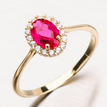 Prsten ze žlutého zlata s rubínem a zirkony 11-164