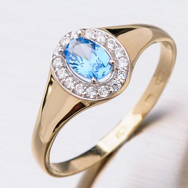 Zlatý prsten s topazem a zirkony 41-NF161