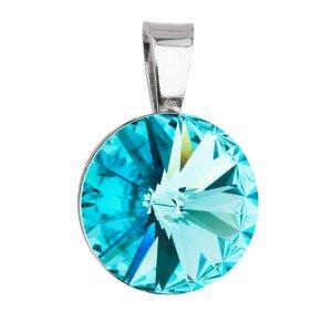 Stříbrný přívěsek s krystaly Swarovski modrý kulatý-rivoli 34112.3 light turquoise 34112.3