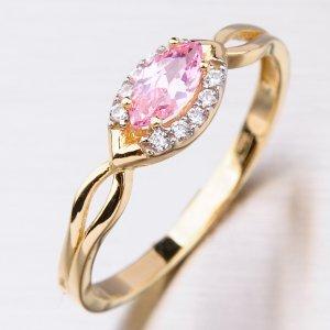 Zlatý prsten s turmalínem a zirkony 41-NRS4