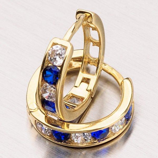 Zlaté kroužy s modrými zirkony 113-1196