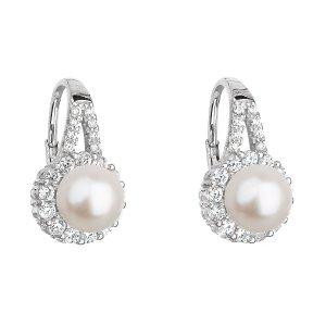 Stříbrné náušnice visací s bílou říční perlou 21047.1 21047.1
