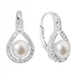 Stříbrné náušnice visací s bílou říční perlou 21053.1 21053.1