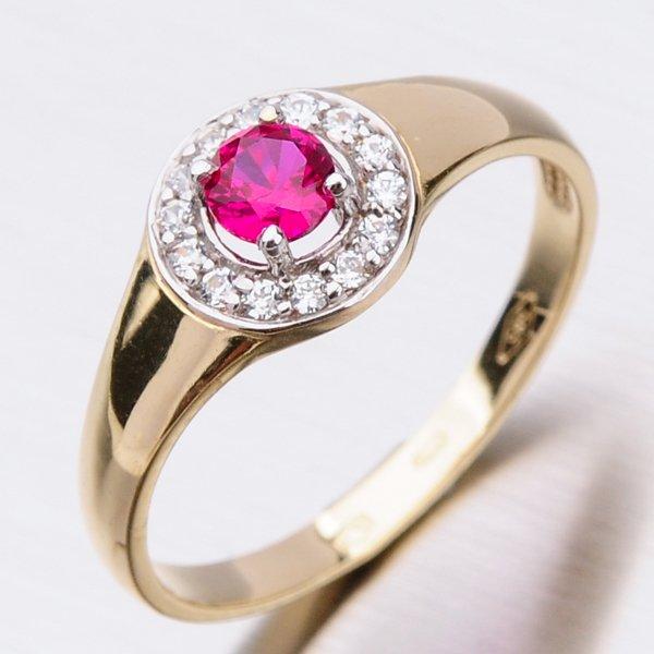 Zlatý prsten s rubínem a zirkony 41-NF171