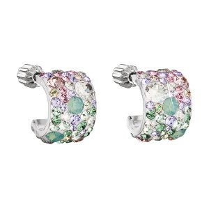Stříbrné náušnice visací s krystaly Swarovski mix barev půlkruh 31280.3 sakura 31280.3