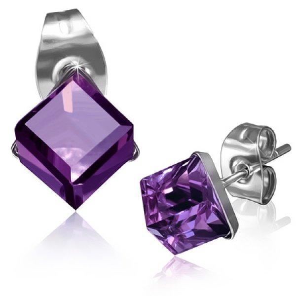 Náušnice s fialovým krystalem GXRY260