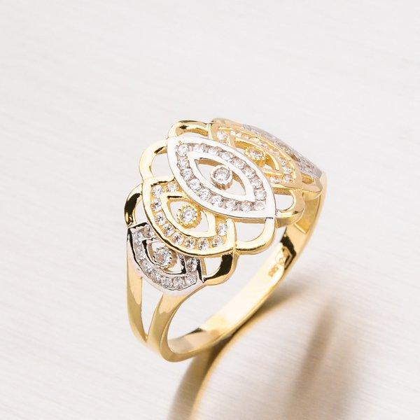 Zlatý prsten se zirkony PKL11-008