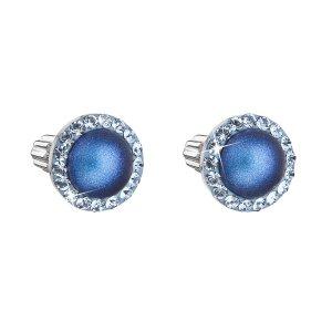 Stříbrné náušnice pecka s krystaly Swarovski a tmavěmodrou matnou perlou kulaté 31314.3 31314.3