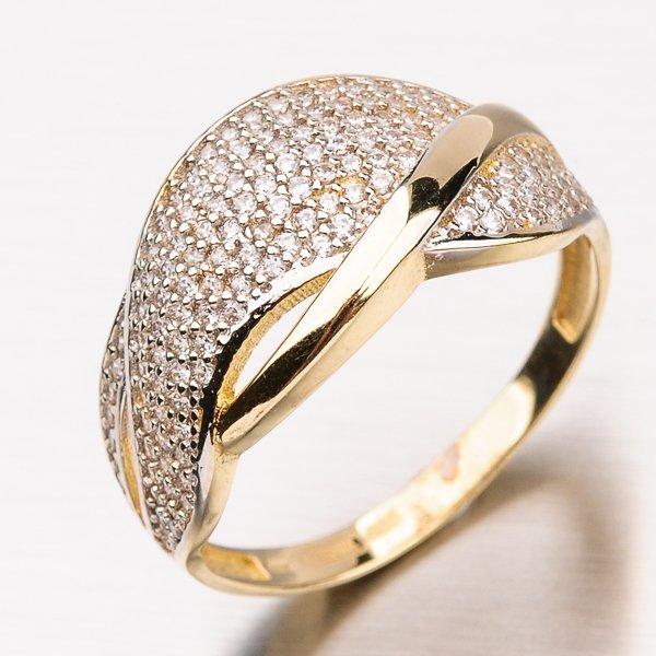Zlatý prsten se zirkony 11-191