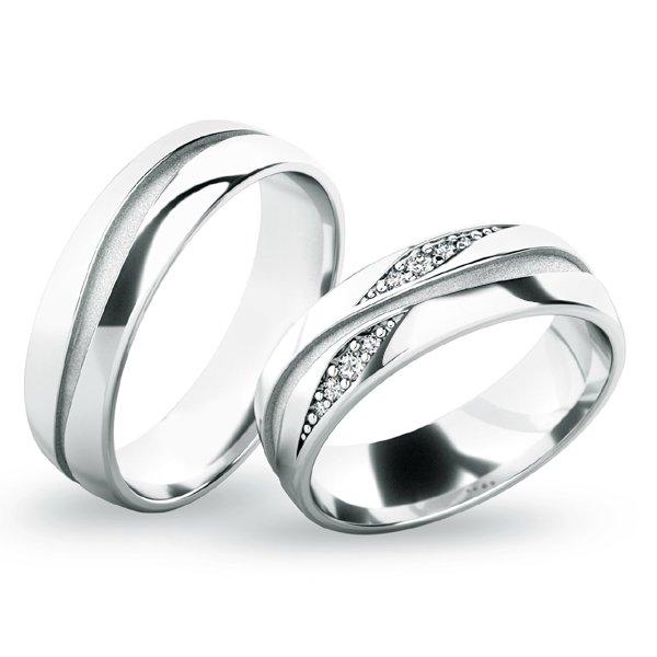 Snubní prsteny z bílého zlata SP-61071B