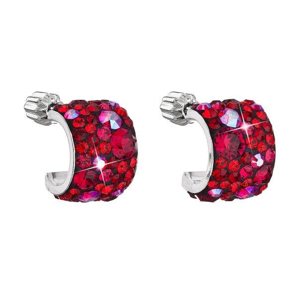 Stříbrné náušnice visací s krystaly Swarovski červený půlkruh 31280.3 cherry 31280.3