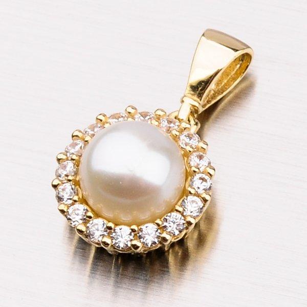 Přívěsek s perlou a zirkony 13-237