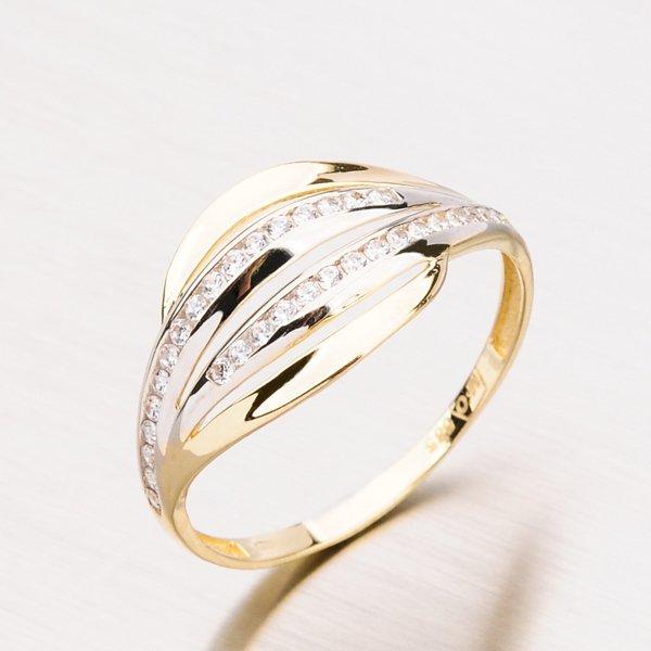 Zlatý prsten se zirkony 11-003