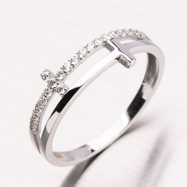 Prsten s bílého zlata a zirkony 11-161
