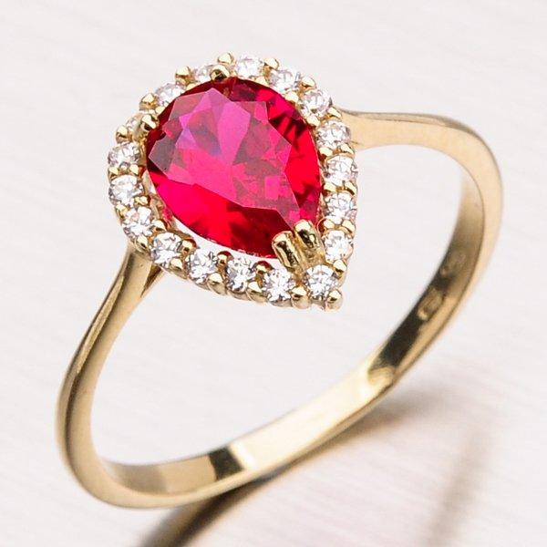 Zlatý prsten se zirkony a rubínem 11-167