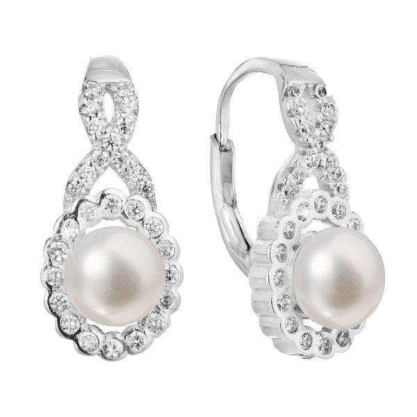 Stříbrné náušnice visací s bílou říční perlou 21052.1 21052.1