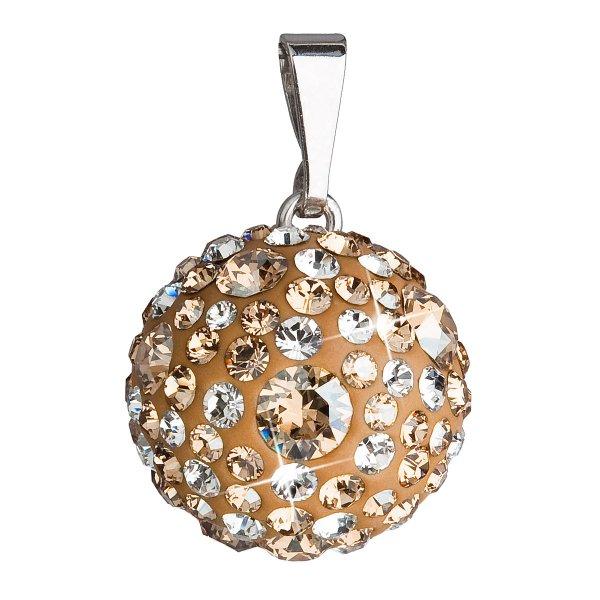 Stříbrný přívěsek s krystaly Swarovski zlatý kulatý 34081.3 34081.3